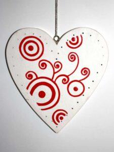 Hanger hart rood-wit