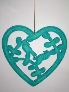 Hanger hart vogels turquoise