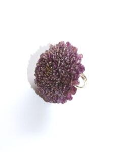 Fairtrade ring echte bloem - aster paars