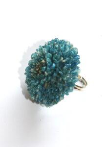 Fairtrade ring echte bloem - aster turquoise