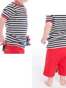 Babyset bio katoen short en shirt - strepen blauw-wit-rood