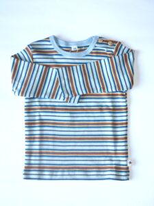 Kindershirt bio katoen Leela Cotton - lm streepjes blauw-geel