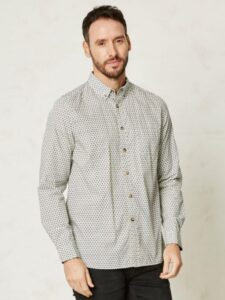 Overhemd bio katoen Braintree - wit motiefje