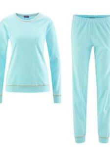 Damespyjama bio katoen Living Crafts - turquoise