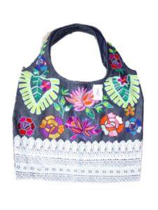 Fairtrade tas India - jeans bloemen divers-800