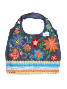 Fairtrade tas India - jeans bloemen oranje-800