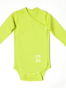 Fairtrade babykleding bio katoen Living Crafts - wikkelbody limoengroen