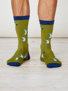 SPM226-Mallard-Bamboo-Socks-Olive-Front