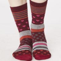 Bamboe sokken Thought - 37-41 hartjes-strepen rood