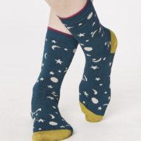 Bamboe sokken Thought - 37-41 sterren en maan petrol