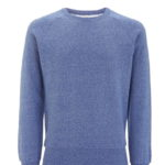 Fairtrade sweater Earth Positive - unisex raglan spikkel blauw