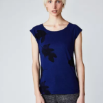 Fairtrade shirt bamboe mix Paala - blauw met blad