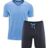 Fairtrade herenpyjama bio katoen Living Crafts - zomer blauw