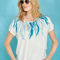 Shirt bio katoen-viscose Tranquillo - blauwe bladeren -Jafari blue cream - fairtrade bio vegan kleding